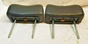 Alfa Romeo Spider Headrest Set Black Leather 74 To 94 Oem