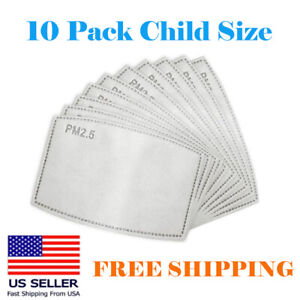 10 Pack Child Kids Pm2 5 5 Layer Carbon Face Fresh Air Mask Filter Replacement