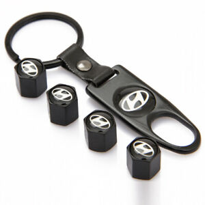 Universal Black Car Wheel Tire Valves Dust Stems Air Caps Keychain Hi Emblem