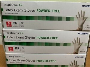 3 Boxes Of Mckesson Latex Exam Gloves Small 100ct Free Priority Mail Shipping