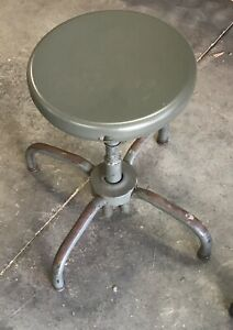 Vintage Adjusto Metal Stool Adj 18 To 26 W 13 360 Turn Seat Very Good