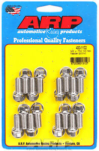 Arp 400 1102 Header Bolts 3 8 Hex Head Stainless Set Of 16 750 Uhl Bbc ford