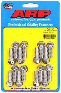 Arp 400 1104 Header Bolts 3 8 Hex Head Ss Set Of 16 0 875 Uhl Bbc Ford Drilled