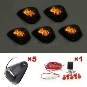5 Amber Led Smoke Roof Running Light Cab Marker Assembly For Ford W wiring Pack