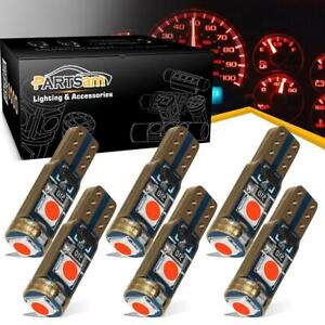 Instrument Panel Gauge Cluster Dashboard Led Light Bulbs Canbus Red 6pcs T5 74
