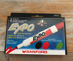 Brand New Vintage Sanford Expo Dry Erase Markers Set Of 4 In Box