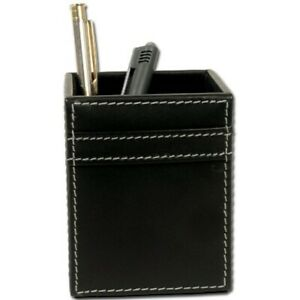 Dacasso Rustic Black Leather Pencil Cup