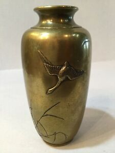 Antique Meiji 1868 1912 Bronze Vase With Crane In Flight Over Water Signed