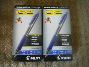 New Lot Of 2 Pkgs 12 Pack total 24 Pilot G2 Blue 0 7mm Pens Comfort Grip