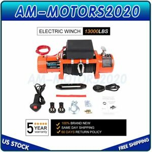 12v Electric Winch 13000lbs Recovery Synthetic Off Road With Wireless Remote