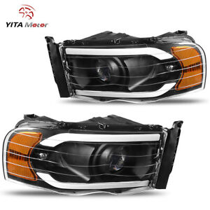 Yitamotor Led Drl Black Projector Headlights For 02 05 Dodge Ram 1500 2500 3500