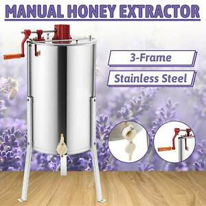 3 Frames Manual Honey Extractor Ss Beekeeping Equipment Spinner Drum W Stands