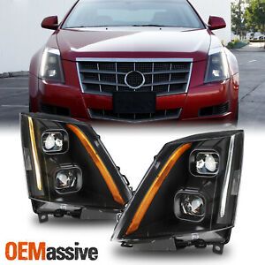 For 2008 2014 Cadillac Cts Dual Projector Switchback Led Headlight Assembly