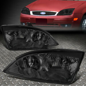 For 05 07 Ford Focus Smoked Housing Clear Corner Headlight Replacement Head Lamp