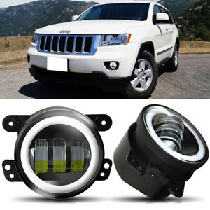 4 Round Led Fog Lights Driving Bumper Lamps Fit 2011 2012 Jeep Grand Cherokee