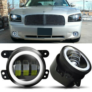 Round 4 Led Halo Fog Lights Driving Bumper Lamps Fit Dodge Charger 2011 2012