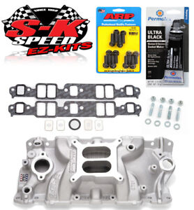 Edelbrock 2701 Small Block Chevy Performer Intake Manifold W bolts gaskets rtv