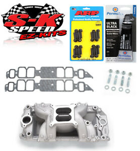 Edelbrock 7562 Performer Bbc Rect Port Rpm Air Gap Intake W bolts gaskets rtv