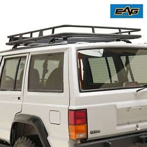Eag Fits 84 01 Jeep Cherokee Xj Roof Rack Cargo Basket W Wind Deflector