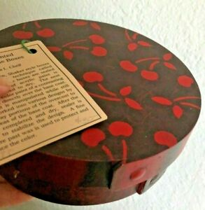 Vtg Grain Hand Painted Shaker Box Cherries Thick Wood Signed Primitive 6 D Red