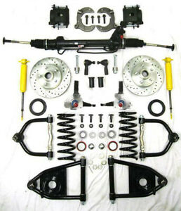 Mustang Ii Complete Power Front End Suspension Kit Stock Slotted No Crossmember