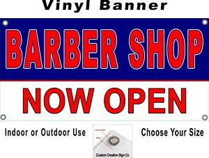 Barber Shop Now Open Banner Sign Your Choice Of Sizes Free Shipping