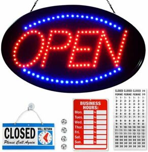 Flashing Led Neon Open Sign For Stores Businesses Blue Red 23 X 14 Inches