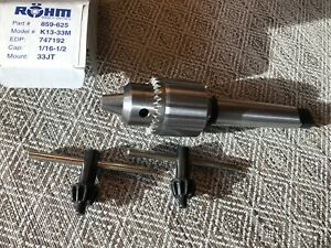 Rohm Drill Chuck Made In Germany 1 16 1 2 Capacity Mt3 X Jt33 Arbor
