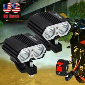 2x Motorcycle Led Spot Light Driving Fog Lamp Drl White Waterproof