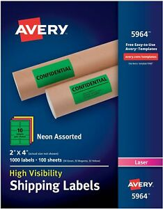 Avery r High Visibility Shipping Labels 05964