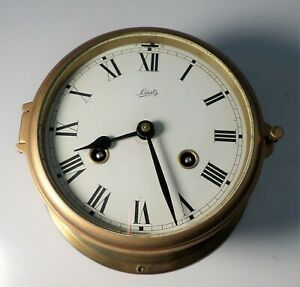 Vintage German Schatz Brass Cased Maritime Nautical Clock W Ships Bell 7