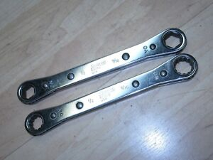 2 Vintage Snap On Ratchet Double End Box Wrenches R 1618 R 1618s 6 12 Point
