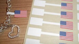 American Flag Jewellery Price Stickers 16 X 54mm Sticky Label Tags Dumbells