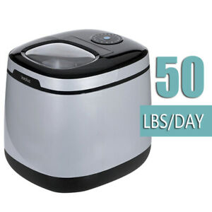 Portable Ice Maker Large Capacity 50 Lbs Silver Grey Color Countertop Type