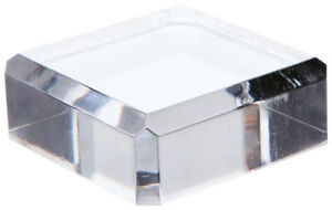 Plymor Clear Acrylic Beveled Corner cut Display Base 0 75 H X 2 W X 2 D