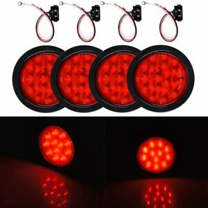4x Car Truck Red 12 Led 4 Round Strobe Brake stop tail turn Light Running Lamp