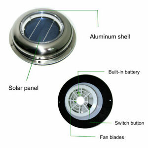 Solar Vent Fan Extractor Ventilator For Greenhouse Conservatory Home Shed Us