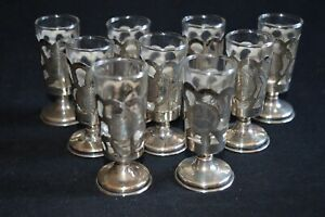 9 Vintage Mexican Sterling Silver Glass Cut Out Incised Floral Shot Glasses