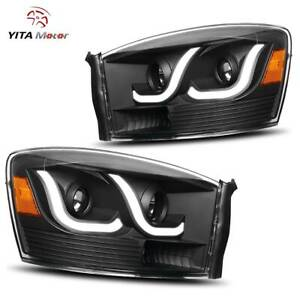 Yitamotor Led Tube Headlights For 2006 2009 Dodge Ram Pickup Black Head Lamps