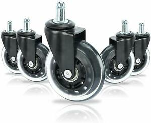 5 pack 3 Inch Heavy Duty Office Chair Caster Pu Swivel Wheels Replacement