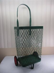 Vintage Green Metal Rolling Market Grocery Shopping Basket Cart Caddy C 1940 s