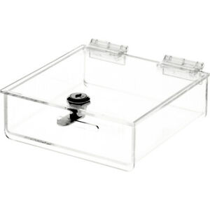 Plymor Clear Acrylic Locking Countertop Display Case 2 H X 6 W X 6 d 3 Pack