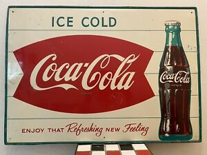Enjoy That Refreshing New Feeling Ice Cold Coca-Cola Fish Tail Tin Sign