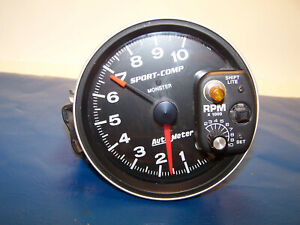 Auto Meter Tach With Shift Light 5 Monster Tachometer Gauge Black 10 000 Used