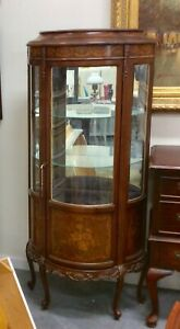 Antique Curio Cabinet Curved Glass 2 Glass Shelves Mirrored Back Inlaid Wood