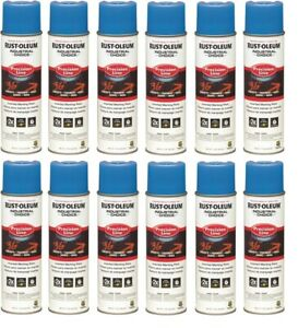 12 Rust oleum 17oz Industrial Choice Precision Line Marking Spray Paint Blue