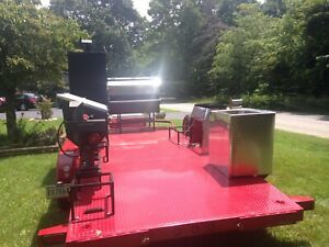 18 Ft Big Tex Trailer W Bbq Smokers grill propane Burners fryer With 6 Baskets