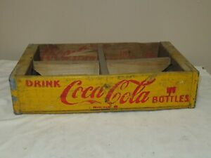 VTG COCA COLA WOOD CARRIER CRATE 6 PACK DATED 5-50