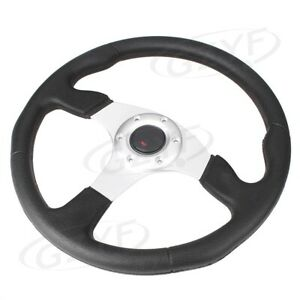 14 Universal Pu Leather Stitching Sport Car Racing Steering Wheel Silver 1pc