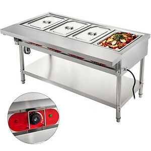 4 well Bain marie Buffet Steamer Food Warmer Steam Table 2000w Buffet Commercial